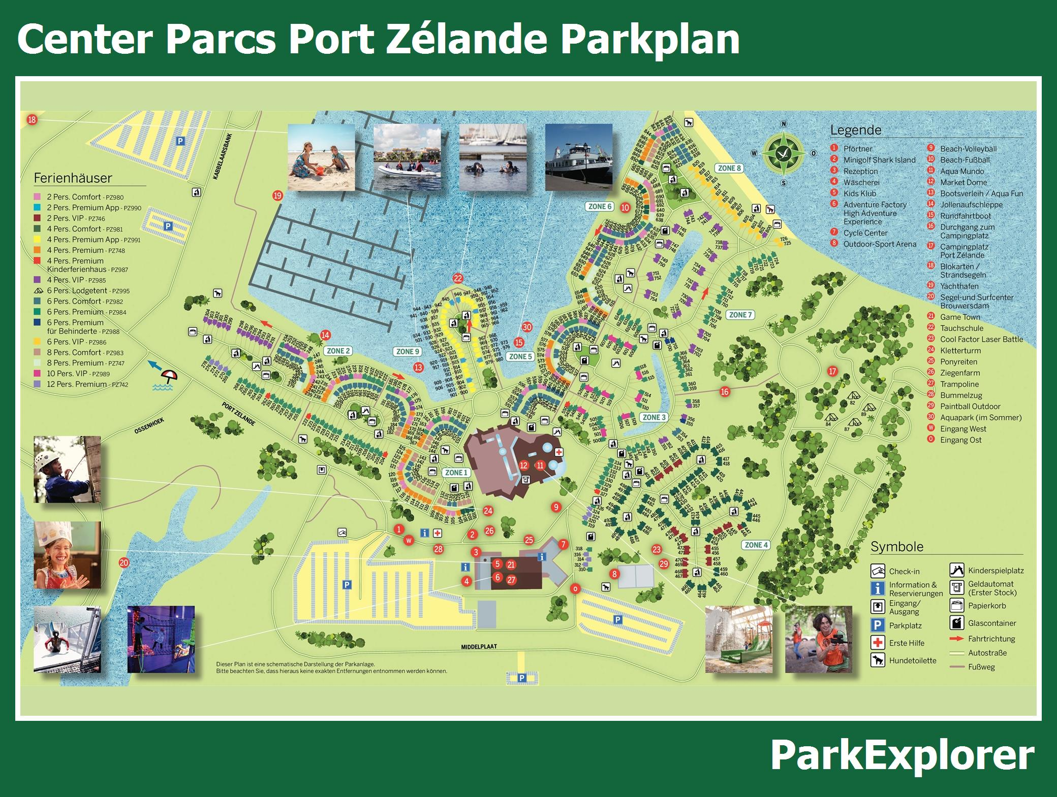 Plan von Center Parcs Port Zélande